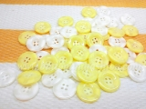 CS04 Faux Horn Button -  white and yellow -