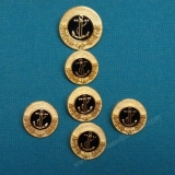 CS07 Metal Gold Shank Button - Black Anchor -