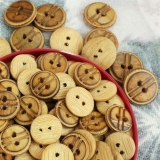 Natural Bamboo Burnt Button -